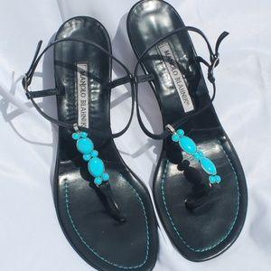 Manolo Blanik | Black & Turquoise Kitten Heel - 37